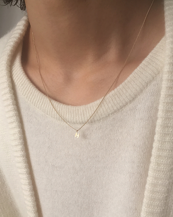 14k petit initial necklace